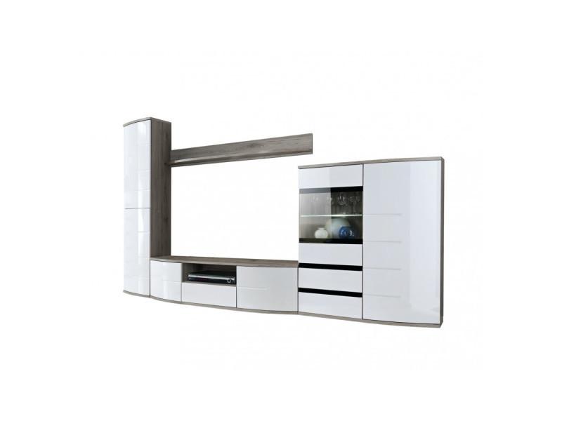 ensemble meuble tv mural ontario i 300 cm x 184 cm x 48 cm chene et blanc