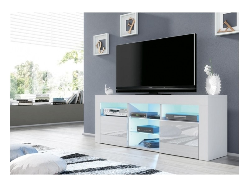 meuble tv jive blanc a led 145 cm avec 2 portes laquees