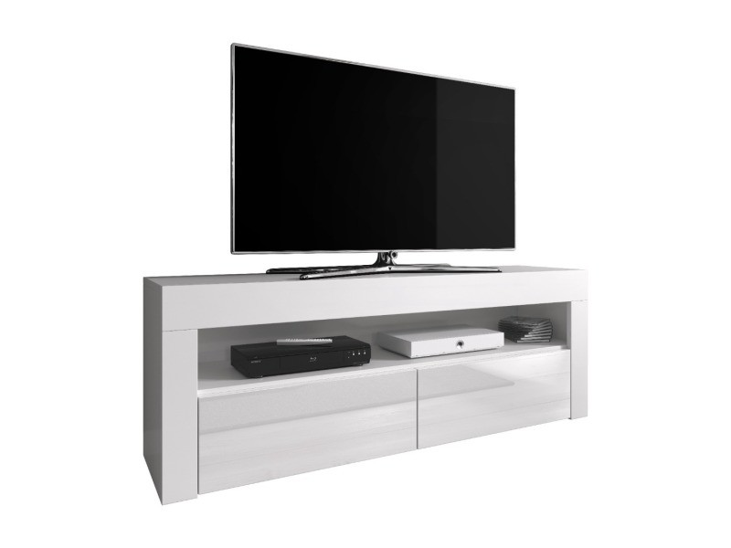 meuble tv armoire bas divertissement luna 140 cm corps blanc mat avant blanc brillant sans rgb led conforama