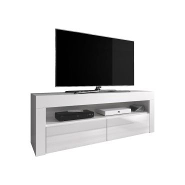 meuble tv armoire bas divertissement luna 140 cm corps blanc mat avant blanc brillant