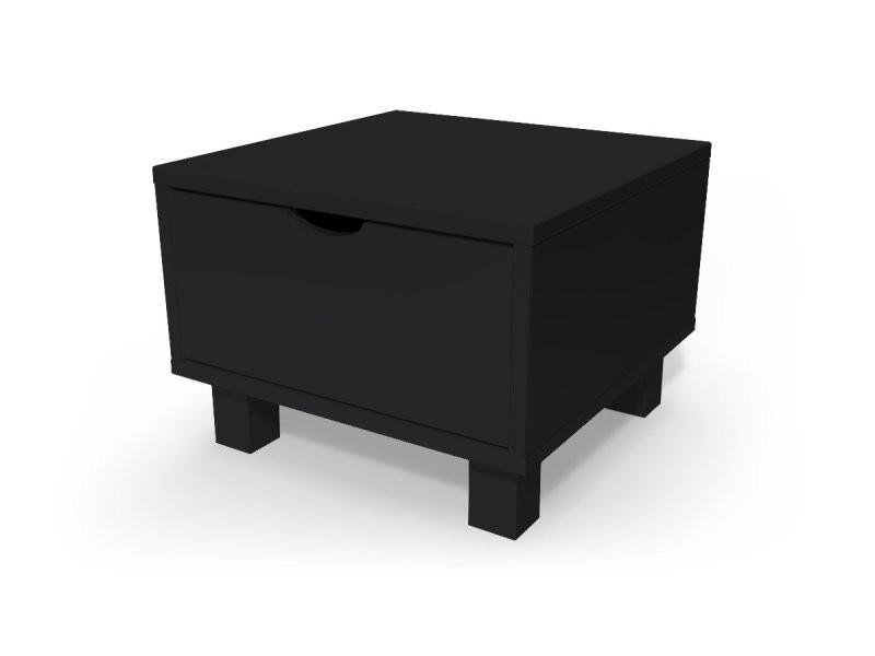 chevet cube tiroir bois noir