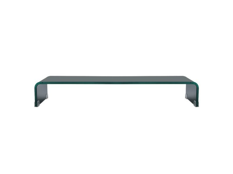 icaverne meubles audio video et pour home cinema edition meuble tv support pour moniteur 90 x 30 x 13 cm verre noir