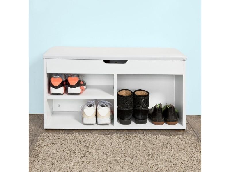 banc commode a bottes chaussures avec coussin rembourre meuble d entree blanc fsr27 w sobuy