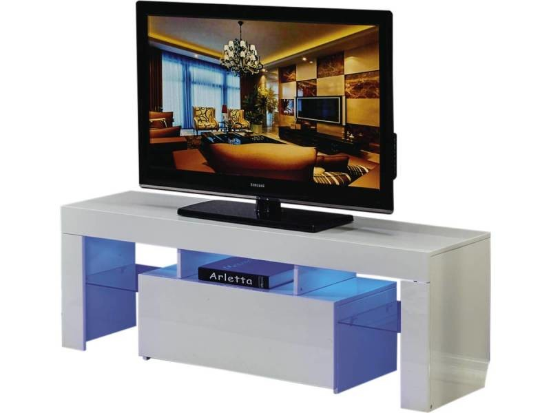 meuble tv led blanc laque