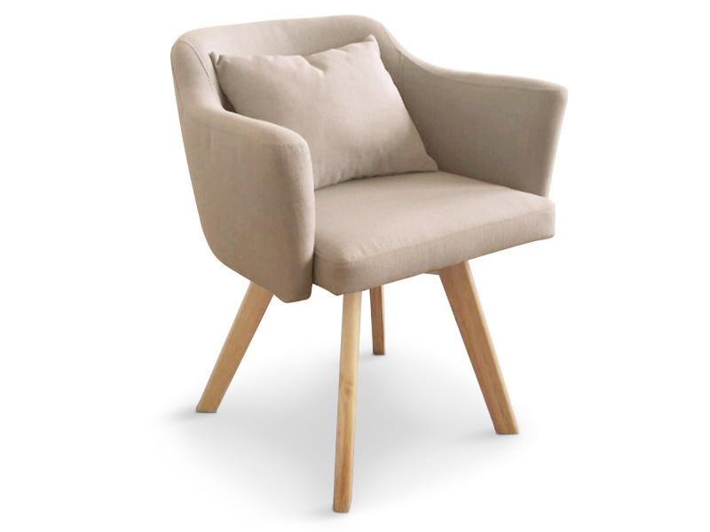 fauteuil scandinave dantes tissu beige