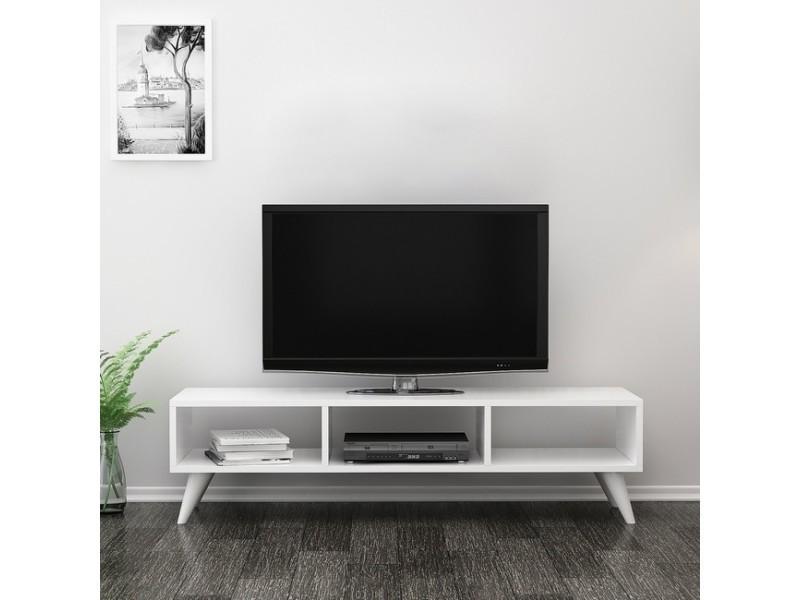 homemania meuble tv manolya 120x35x40 cm blanc