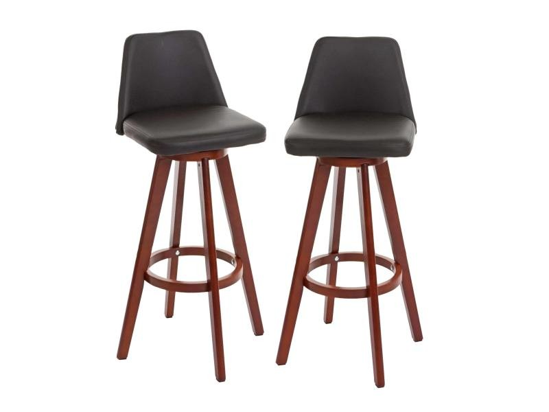 2x tabouret de bar boras chaise de comptoir bois similicuir rotatif marron pieds fonces