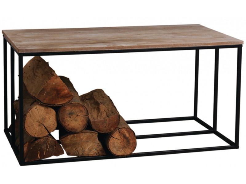 table basse porte buches en metal et bois 100 x 50 x 50 cm pegane