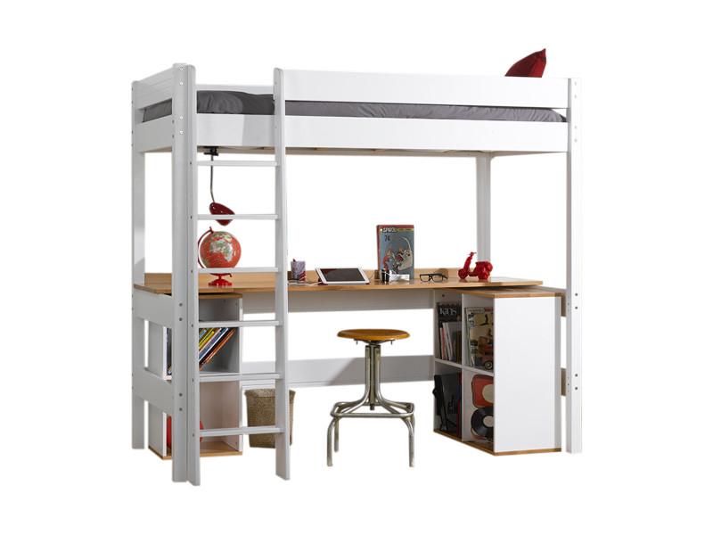 Lit Mezzanine Avec Bureau Clea Blanc 90x190 Cm Vente De Akiten Retail Conforama