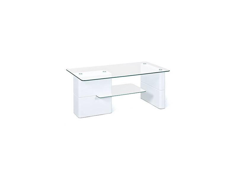 table basse 2 plateaux en verre blanc brillant bright