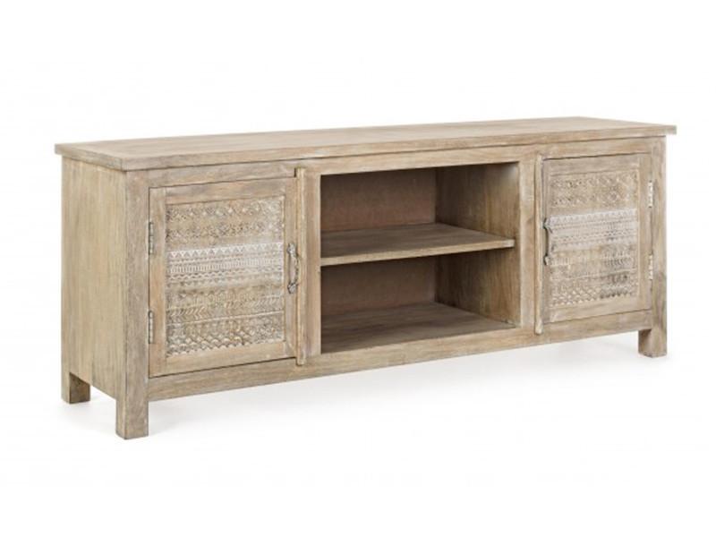 meuble bas avec 2 portes en bois de manguier dim l 150 x p 40 x h 60 cm pegane
