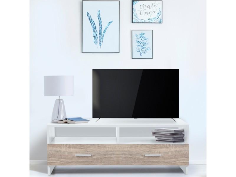 meuble tv falko bois blanc et imitation hetre