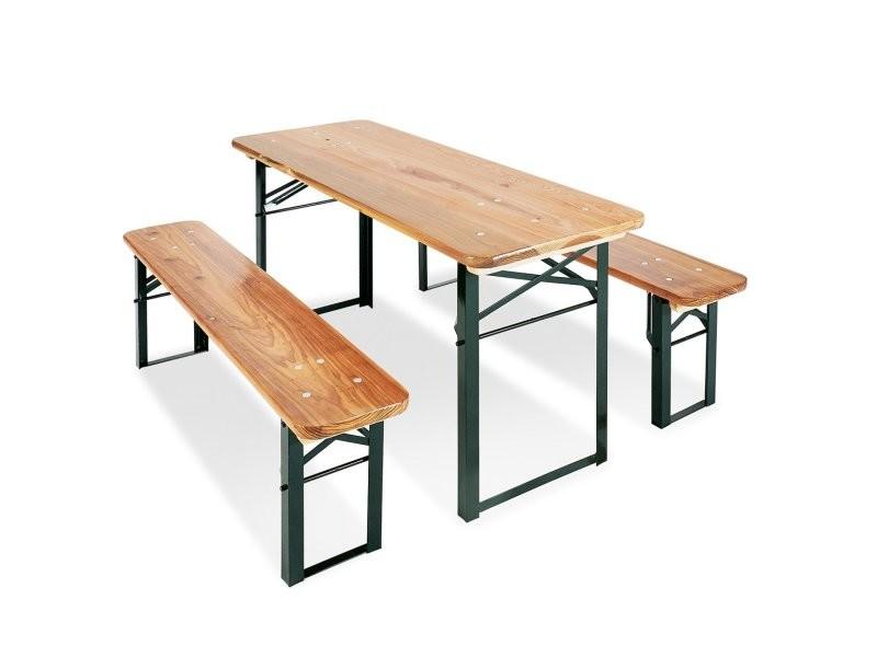 table et bancs de pique nique pliable pour enfants en bois de pin massif et metal ape07009