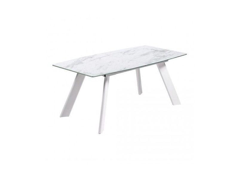 table ceramique a rallonge effet marbre