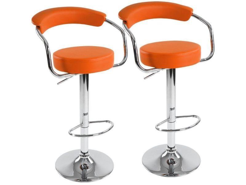 lot de 2 tabourets de bar orange design