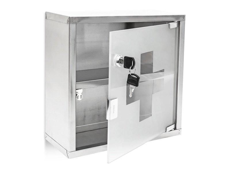 armoire a medicaments pharmacie metal et verre avec deux cles 30 x 30 cm helloshop26 2013012 conforama