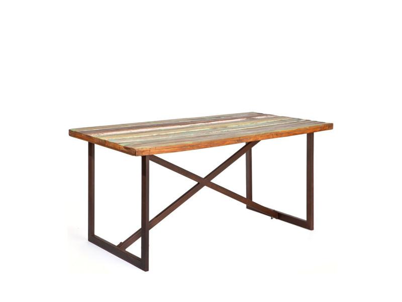 chennai table a manger en bois recycle vintage 160x90cm couleur marron