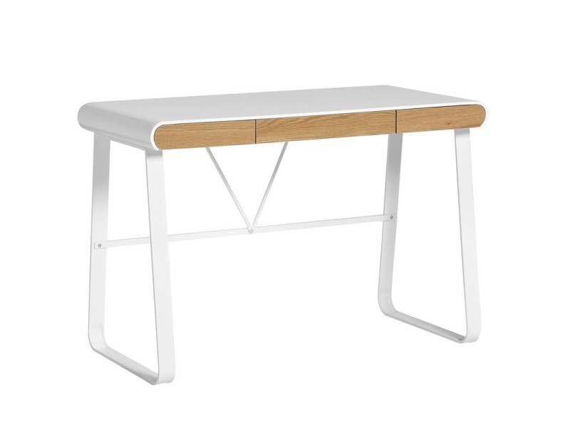 bureau blanc et tiroirs bois lito l 110 x l 55 x h 76 neuf