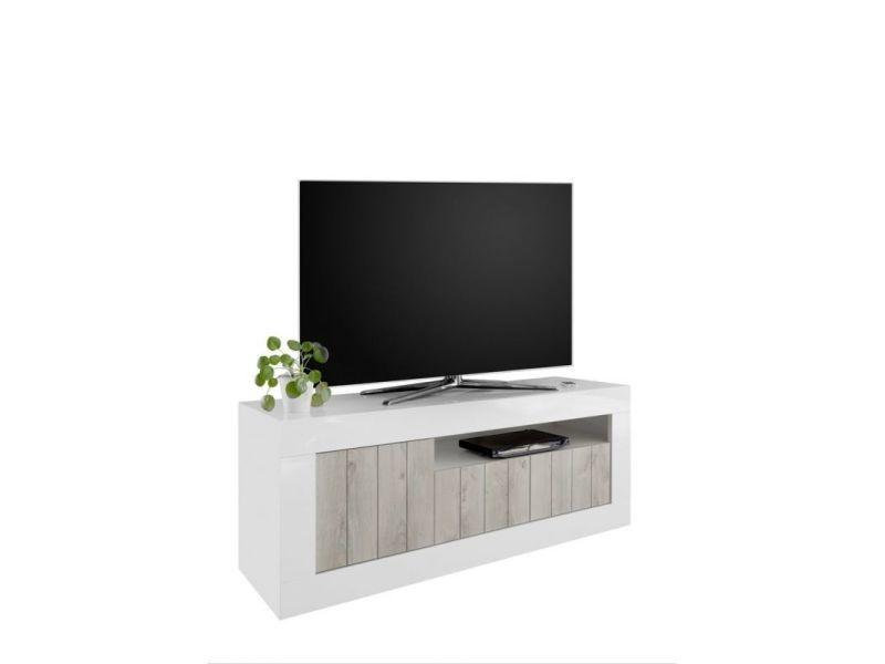 meuble tv moderne 138 cm luciana coloris blanc pin blanc