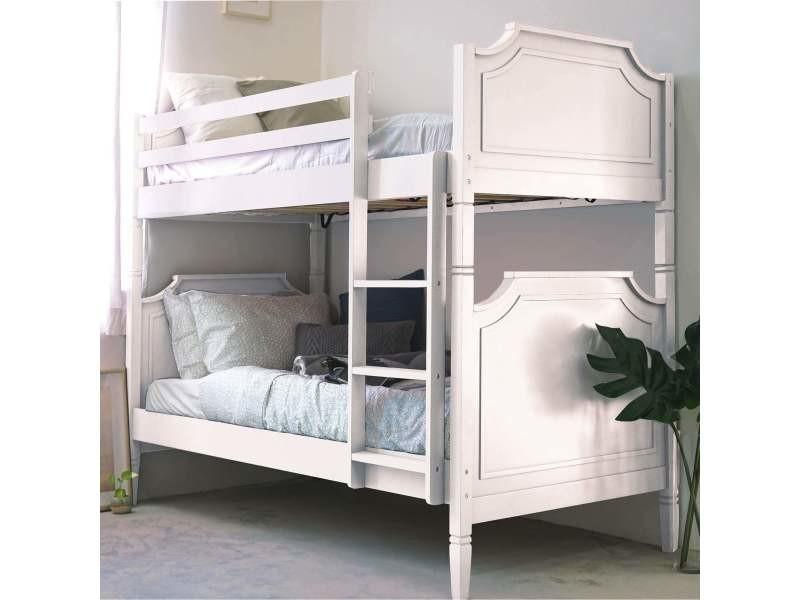 lit superpose separable en bois blanc pauline 90 x 190 cm