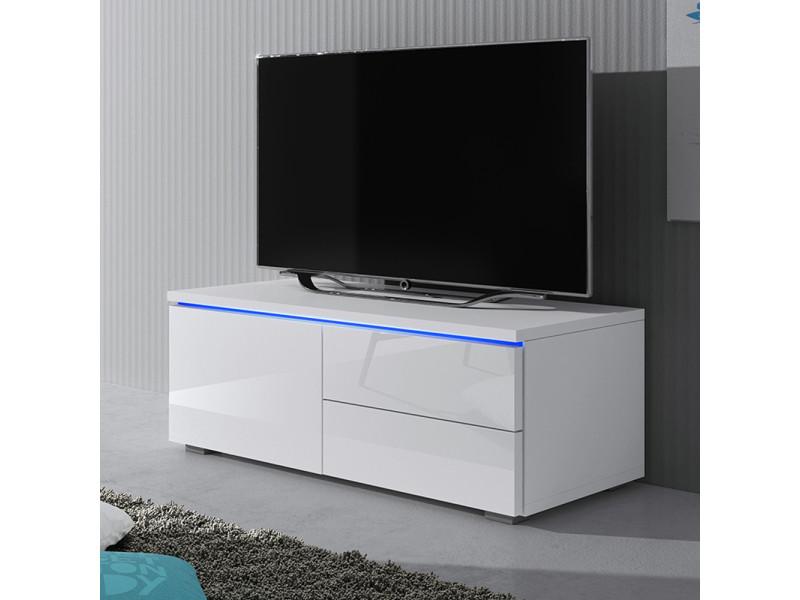 meuble tv luvitca singuli 100 cm blanc mat blanc brillant