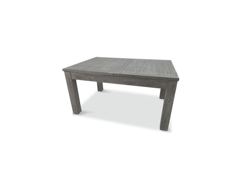 table de repas a allonge bois massif gris gabriel l 150 210 x l 100 x h 75 neuf