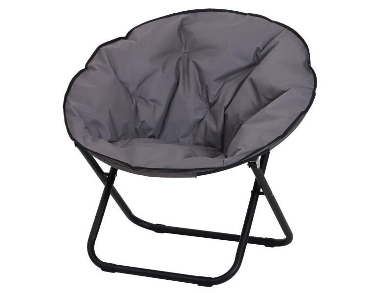 loveuse fauteuil rond de jardin fauteuil lune papasan pliable grand confort 80l x 80l x 75h cm grand coussin fourni oxford gris