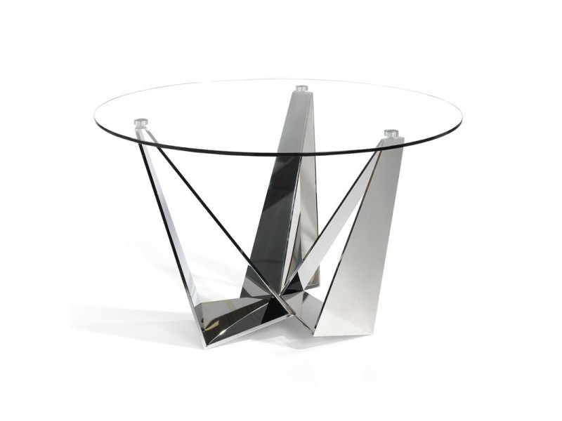 table de repas ronde verre inox nogu l 130 x l 130 x h 76 neuf