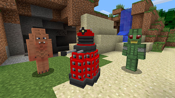A Zygon, a Dalek and an Ice Warrior in Doctor Who on Minecraft Xbox 360