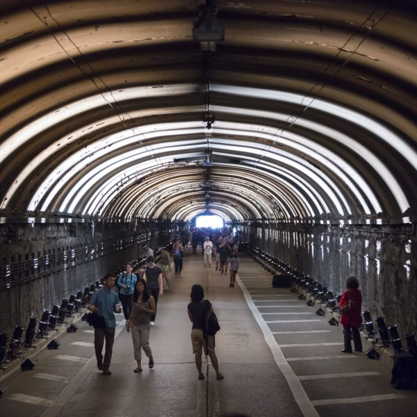 """Rafael Lozano-Hemmer, """"Voice Tunnel, Relational Architecture 21"""", 2013. Commissioned by: Park Avenue Tunnel, NYC DOT """"Summer Streets"""". New York City, New York, United States. Photo by: James Ewing."""