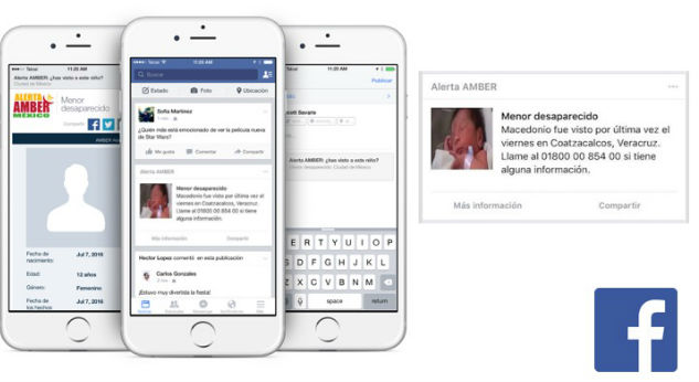 Amber Alerts from Mexico will also be broadcast on Facebook