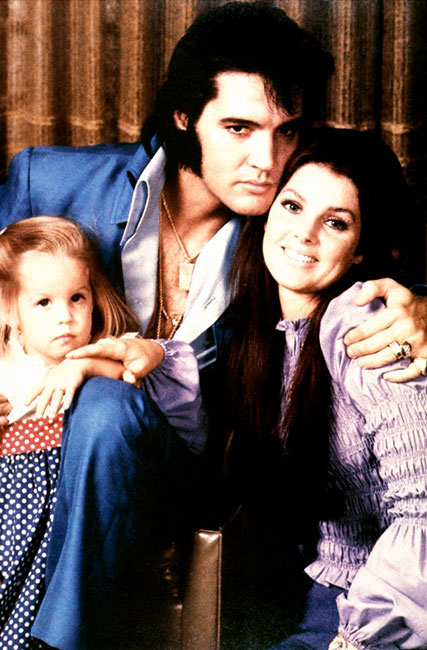 Elvis Presley with Priscilla and little Lisa Marie in 1970