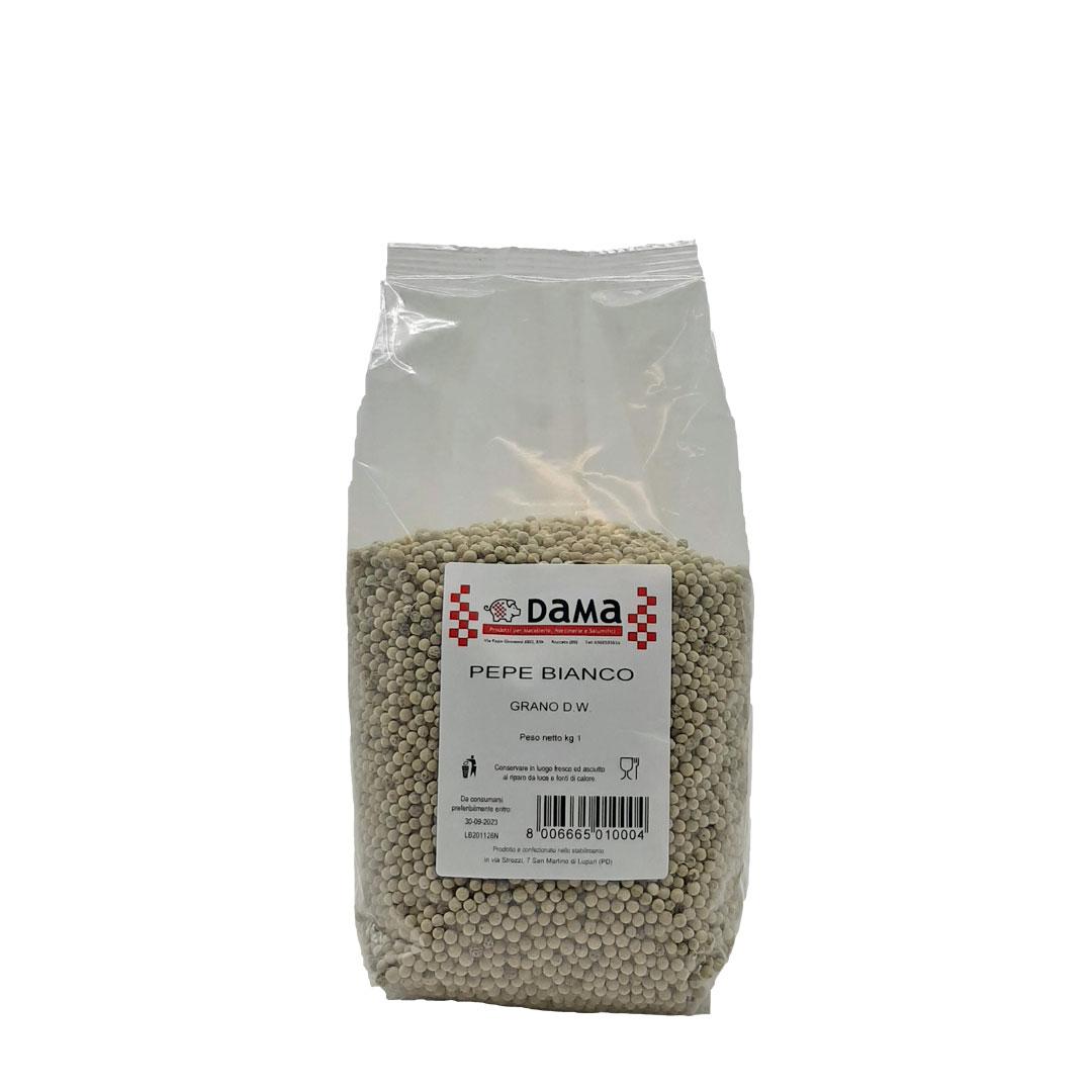 Pepe bianco in grani interi per salumi e salmistrati - Confezioni da 100 gr a 1 kg