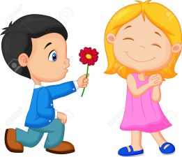 27648826-Cartoon-Little-boy-kneels-on-one-knee-giving-flowers-to-girl--Stock-Vector