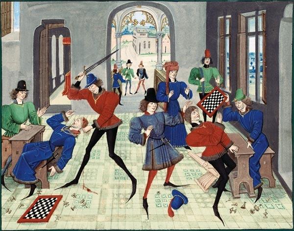 """Renaut de Montauban (circa 1462-70) """"Partie d'échecs dégénérant en assassinat"""""""