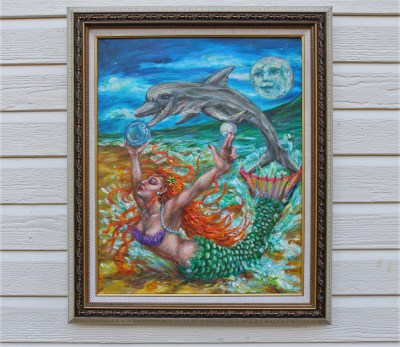Man in the moon, yemaya, imanja, yemanja, redheaded mermaid, dolphin joga, dolphin pose, pearls of wisdom, sea art, mermaid painting, mermaid hair, mermaid life