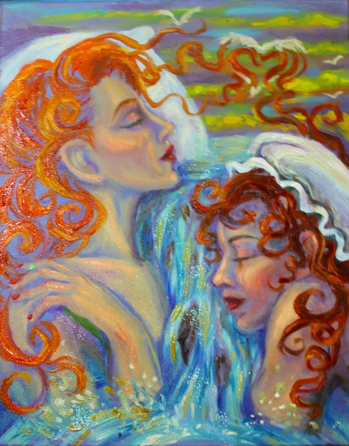 Painting, art, original artwork, two redheads, sleeping women, dreaming