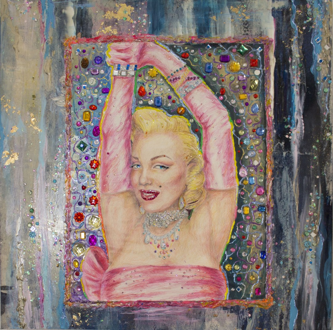 "Marilyn | Colored Pencil - Acryclic - Crystals | 36"" W x 36"""