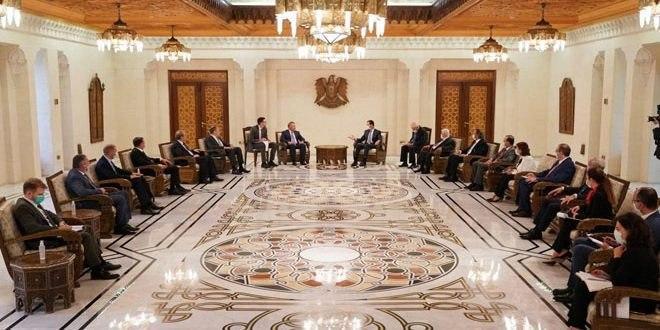 الأسد للوفد الروسي عازمون على إنجاح استثماراتكم
