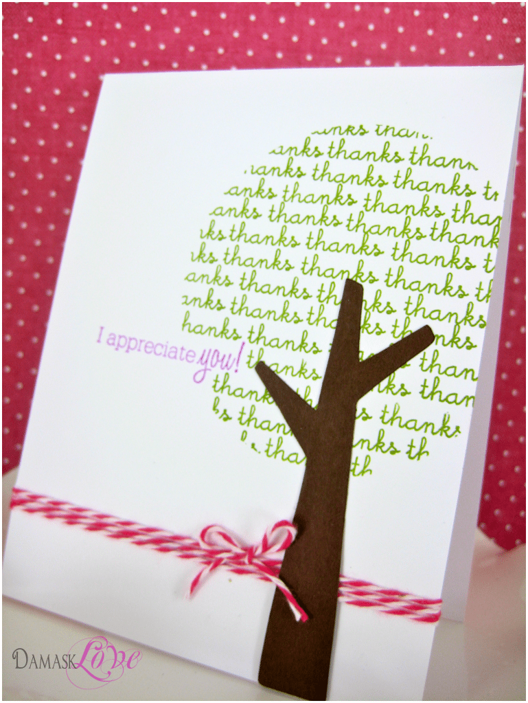 Thank You Tree Card Damask Love