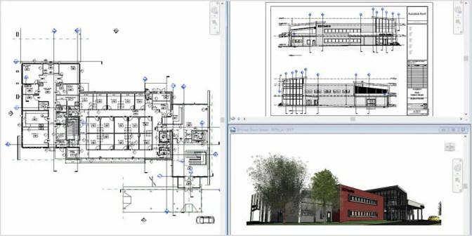 建物の平面図と断面ビュー