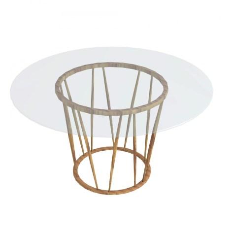 Table ronde Indobrittan diam.130cm en teck et plateau verre - 2300€ chez Unopiù