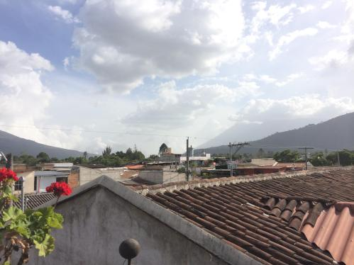 My view from the rooftop terrace of a hostel I stayed at in Antigua, Guatemala. Just $9 a night!