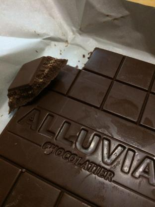 Alluvia Chocolatier Vietnamese Cacao Bean to Bar Milk Chocolate Ginger Close-up