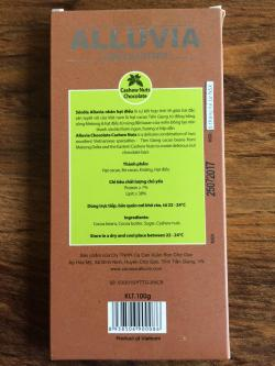 Alluvia Chocolatier Vietnamese Cacao Bean to Bar Milk Chocolate Cashews Back of the Bar