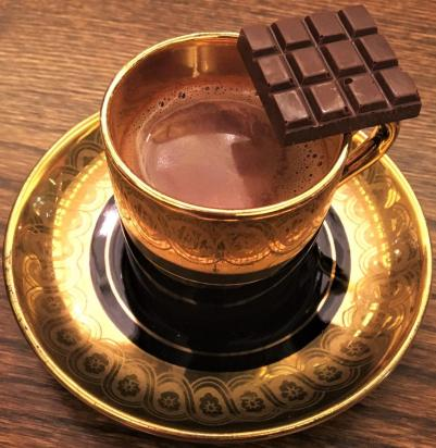 Drinking chocolate from Hocada Coco in Hongcheon, South Korea
