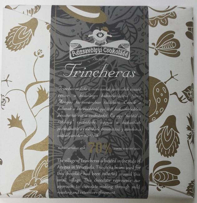 Rózsavölgyi Csokoládé Trincheras 70 venezuela chocolate front of bar