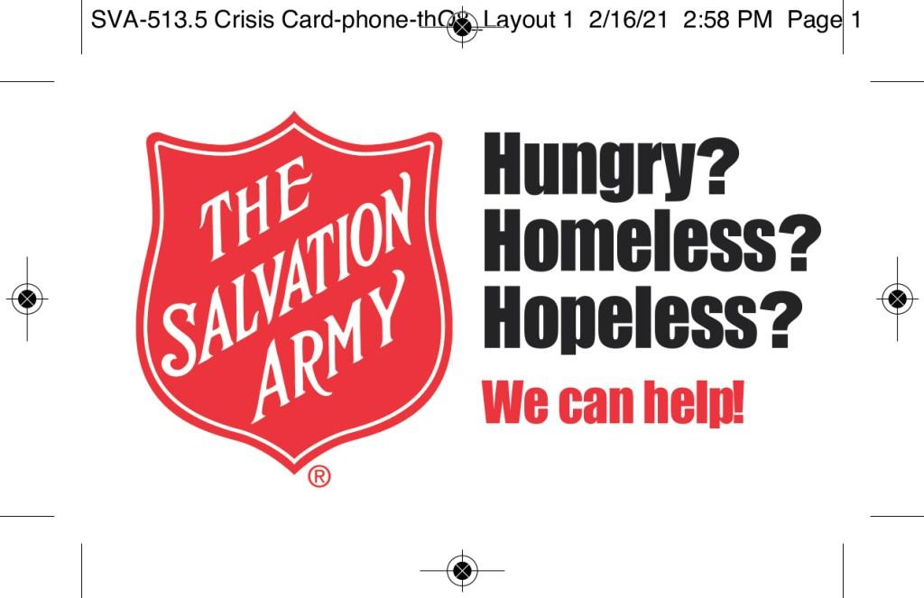 Salvation Army Crisis  Card