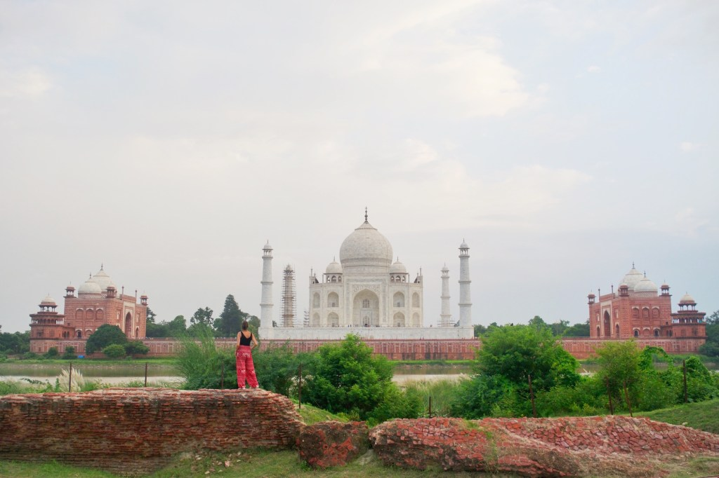 standing behind the Taj Mahal in the moon garden. The best place to watch the sunset in peace away from the crowds. http://travelwheretonext.com