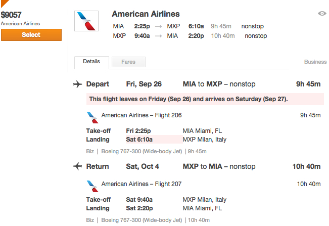 Hidden City Ticketing: MIA-MXP Nonstop > $9000